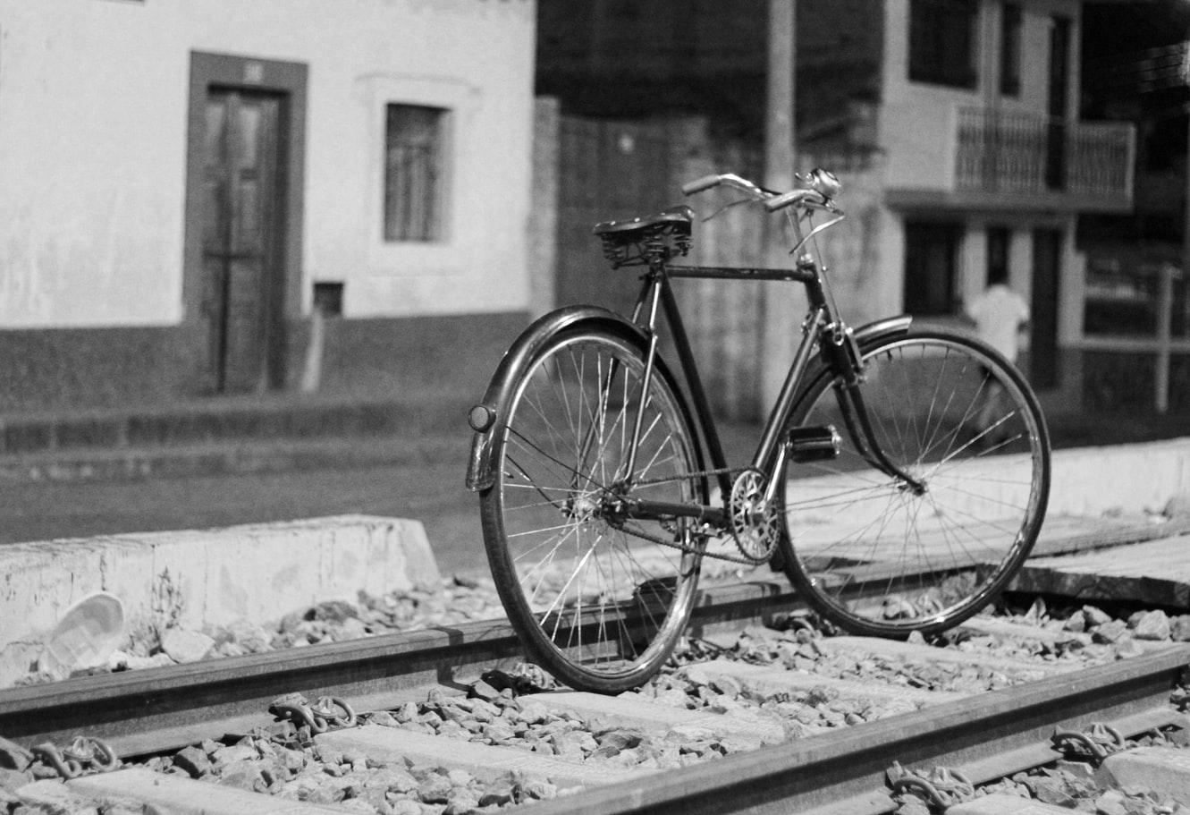 Monochrome picture of a bike