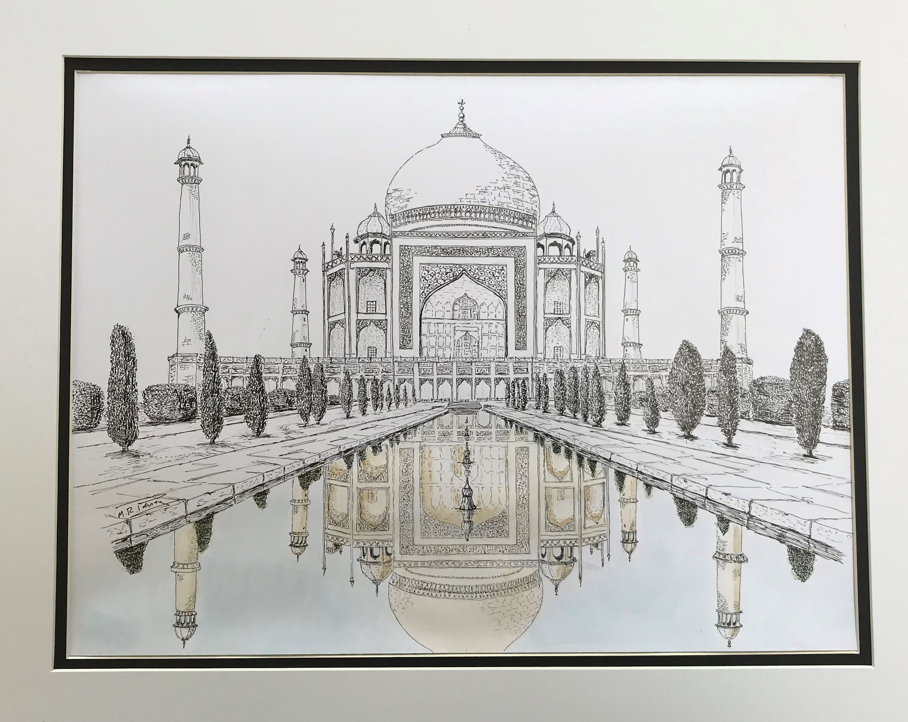 Taj mahal   pen   ink
